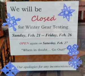 Closed for Winter Gear Testing 2016
