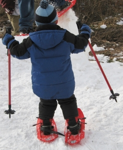 Children pick up snowshoeing easily