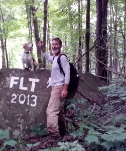Rick Roberts and beagle on FLT section Cannonsville Reservoir