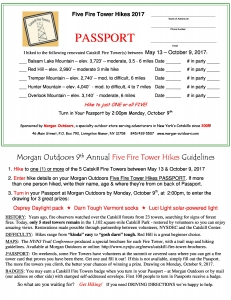 Five Fire Tower Passport 2017 Morgan Outdoors