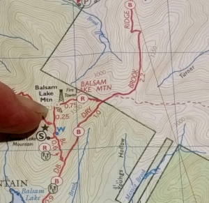 Balsam Lake Mt hiking map