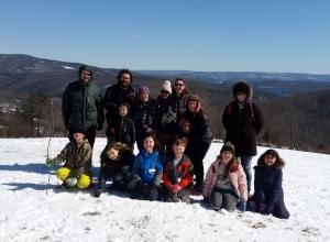 Hayraisers on snowshoes Catskill Mt Sugar house 2018 Photo L. Lyons