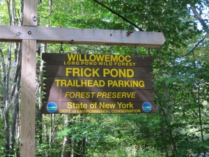 Frick Pond trailhead parking sign photo by L Lyons